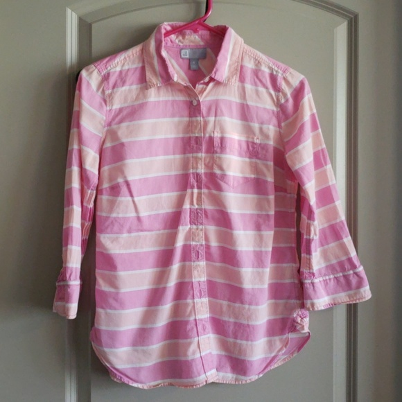 87b7acbf jcpenney Tops | Jcp Striped Button Down Shirt Shades Of Pink | Poshmark
